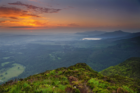 View of sunrise from Torc mountain, Killarney, County Kerry, Ireland