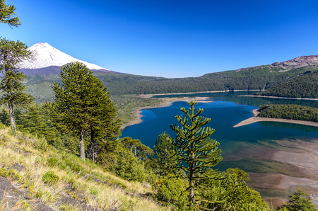 nevada: Chile, Sierra Nevada, Llaima lake in mountain valley