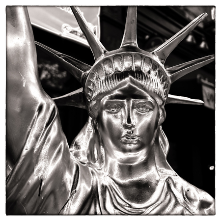 Close-up of a sculpture of the Statue of Liberty