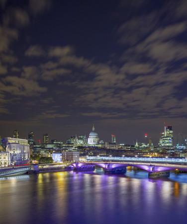 St Pauls Cathedral and City of London at night, UK