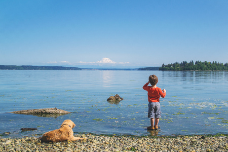 Rear view of a  boy with his dog looking out to sea