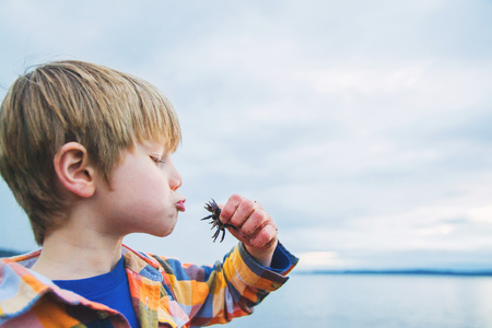 Side view of a boy kissing a crab on beach