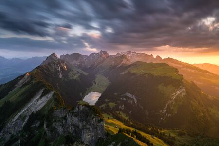 crater lake: View over the Alpstein mountains, Switzerland LANG_EVOIMAGES