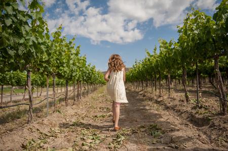 vanishing point: Rear view of a girl walking in vineyard LANG_EVOIMAGES