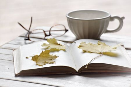 Maple leaves on open book with tea cup and glasses