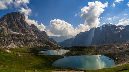 Piani Lake and mountain landscape, Dolomites, Italy
