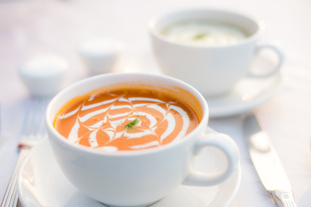 Cups of mushroom soup and tomato bisque, Penang, Malaysia LANG_EVOIMAGES