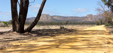 vanishing point: Empty straight road, Laharum, Victoria, Australia