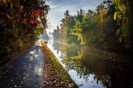 vanishing point: Autumn Towpath, Leeds, England, UK