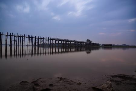 U Bein bridge at sunrise, Mandalay, Myanmar