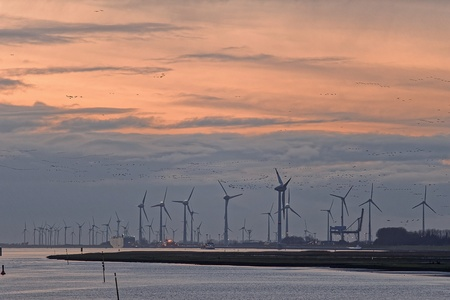 Wind turbines in a row in harbor, Emden, Germany LANG_EVOIMAGES