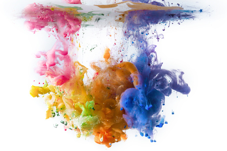 Multi-colored acrylic paints dissolving in water LANG_EVOIMAGES
