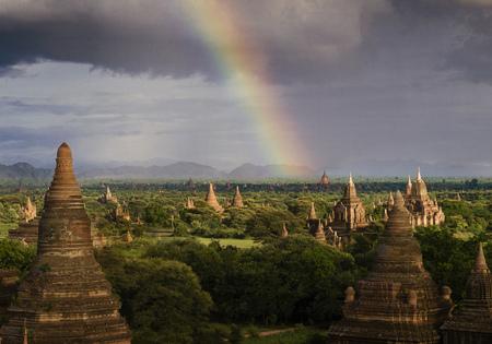 Rainbow over buddhist temples and stupes, Bagan, Mandalay, Myanmar