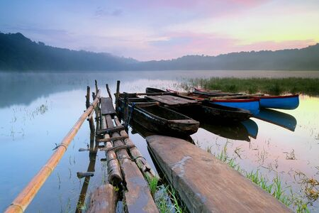 Boats on tamblingan lake, bali, indonesia LANG_EVOIMAGES