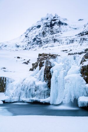 Close-up of frozen Kirkjufellfoss waterfall, Grundafjordur, Iceland