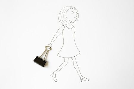 foldback: Conceptual woman walking with handbag