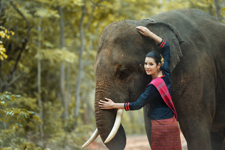 Woman standing with elephant in forest, Thailand LANG_EVOIMAGES