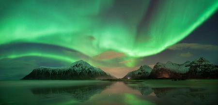 atmospheric phenomena: Northern lights, Skagsanden beach, Lofoten, Norway LANG_EVOIMAGES