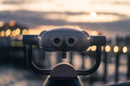 santa monica: Close-Up Of Coin Operated Binoculars At Santa Monica beach, california, America, USA