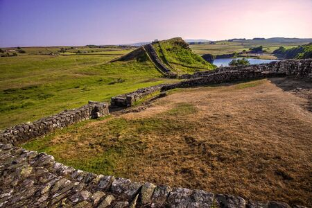 Hadrians Wall near Cawfields, England, UK
