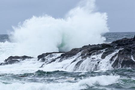Waves crashing on rocks, Ucluelet, British Columbia, Canada