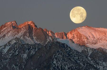 Moon over Mount Russell, Sierra Nevada mountains, California, America, USA