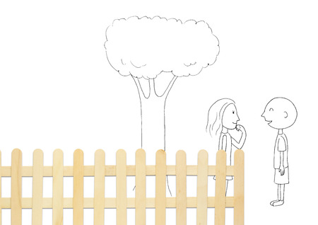 Conceptual couple standing by fence talking LANG_EVOIMAGES