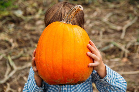 Boy holding a pumpkin in front of his face
