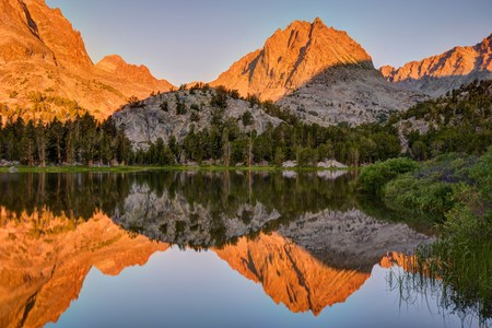 Two Eagle Peak reflections in Fourth Lake, Inyo National Forest, California, America, USA