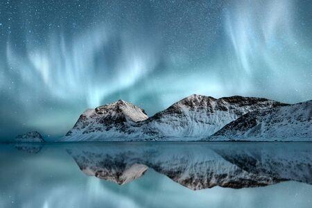 atmospheric phenomena: Northern Lights, Haukland, Nordland, Norway LANG_EVOIMAGES