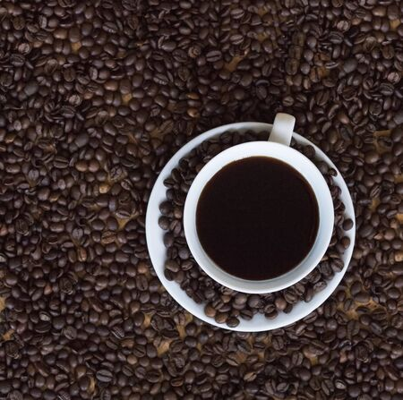 Coffee cup with roasted coffee beans