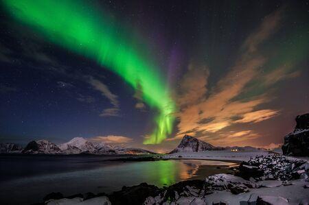 atmospheric phenomena: Northern Lights, Flakstad, Lofoten Islands, Norway LANG_EVOIMAGES