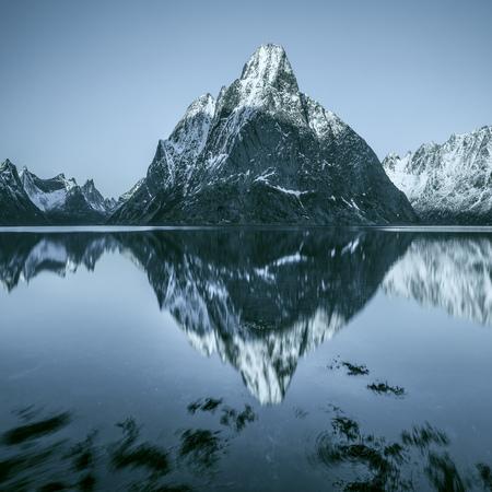 Mountain reflections in fjord, Lofoten, Norway