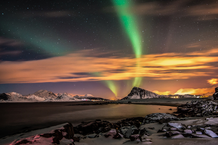 atmospheric phenomena: Northern lights over Offersoykammen mountain, Lofoten, Norway