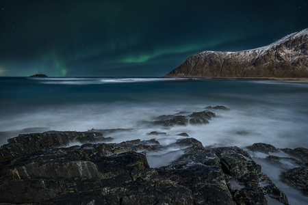 atmospheric phenomena: Northern Lights, Lofoten, Flakstad, Nordland, Norway