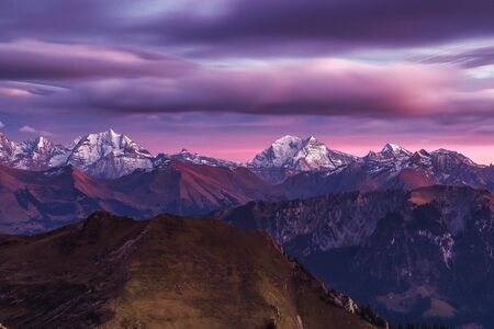 Alpine mountains at sunset, Morgetepass, Ruschegg, Bern, Switzerland