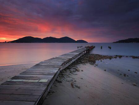 Wooden jetty at sunset, Marina Island, Lumut Perak, Malaysia