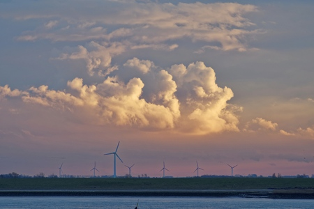 Wind turbines along River Ems, Lower Saxony, Germany
