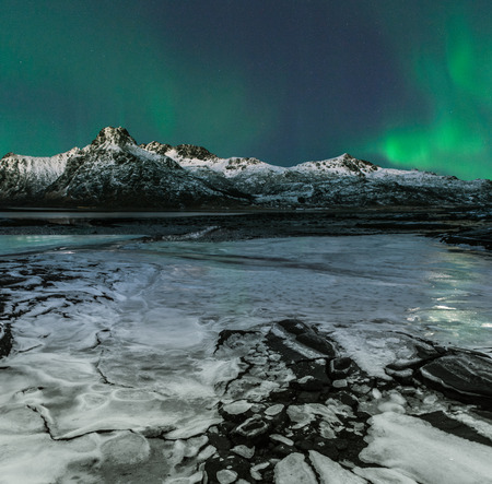 Northern Lights, Lofoten, Flakstad, Nordland, Norway