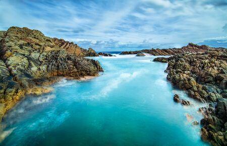 Ocean crashing on rocks, Canal rocks, Yallingup, Western Australia, Australia