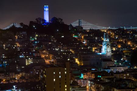 City skyline with Coit Tower, San Francisco, California, America, USA