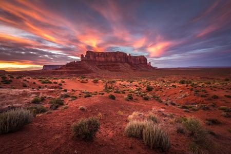 Sunset over Sentinel Mesa,Monument Valley,Arizona,America,USA