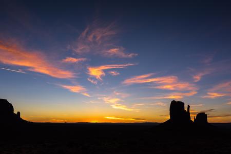 Silhouette of Monument Valley sunrise,Arizona,America,USA