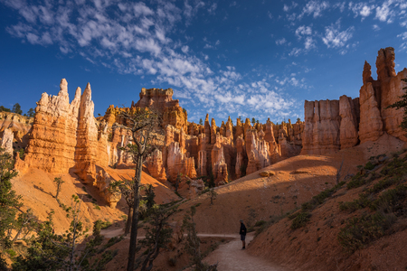 standing stone: Hiker standing on Queens Garden Trail, Bryce Canyon National Park, Utah, America, USA