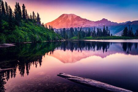 Mountain reflection in Bench Lake,Mt Rainier National Park,Washington,America,USA LANG_EVOIMAGES