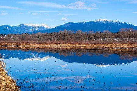 Mountain reflections in Burnaby Lake, British Columbia, Canada