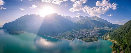 Aerial view of Molveno lake, Molveno, Trentino, Trento, Italy LANG_EVOIMAGES