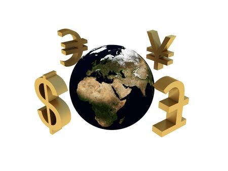 exchange rate: World economy, finance, exchange rate. The globe around money signs on a white background. High quality 3d render. Stock Photo