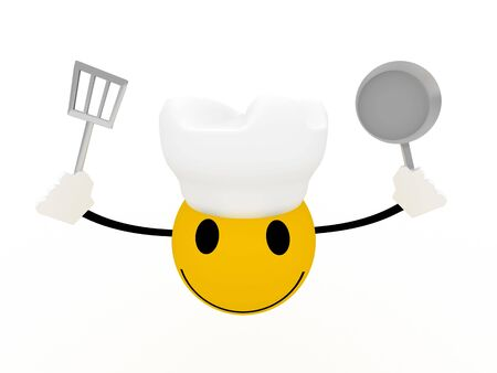 Smiley chef with frying pan and spatula on white background. High quality 3d  render. photo