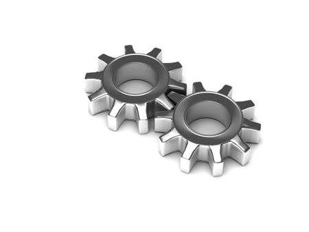 Chrome gears on white background. High quality 3d render.